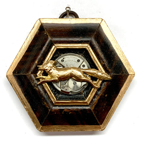 Burled Frame with Fox on Watch Movement (3.25