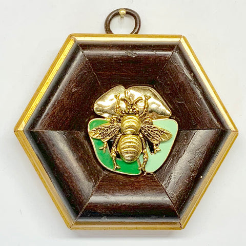 Wooden Frame with Grande Bee on Brooch (3.5