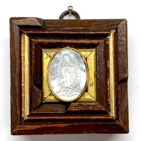 Wooden Frame with Mother of Pearl Mary (2.75
