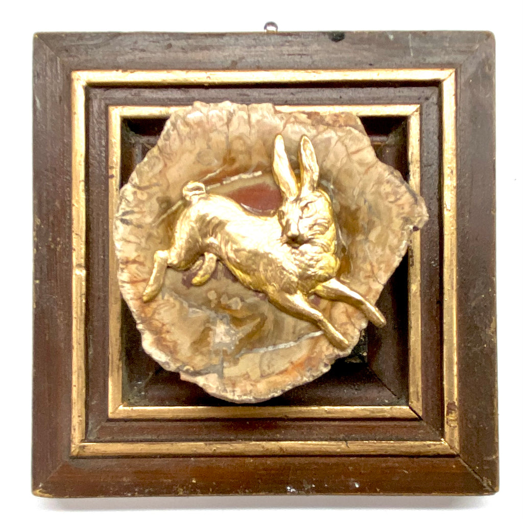 Painted Frame with Hare on Petrified Wood Piece (4.5