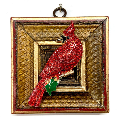 Lacquered Frame with Sparkle Cardinal (3.75