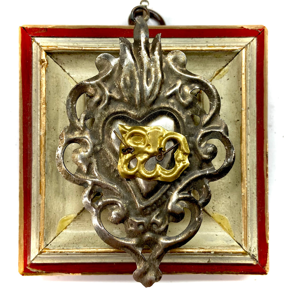 Lacquered Frame with 19th Century Sliver Plated Sacred Heart (3.5