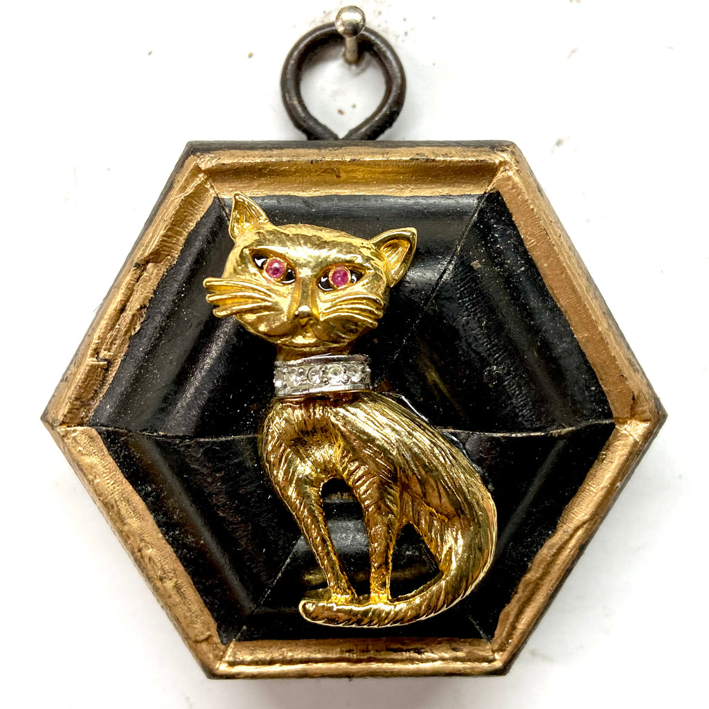 Lacquered Frame with Vintage Cat Brooch (3.25