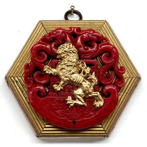 Lacquered Frame with English Lion on Jade (4