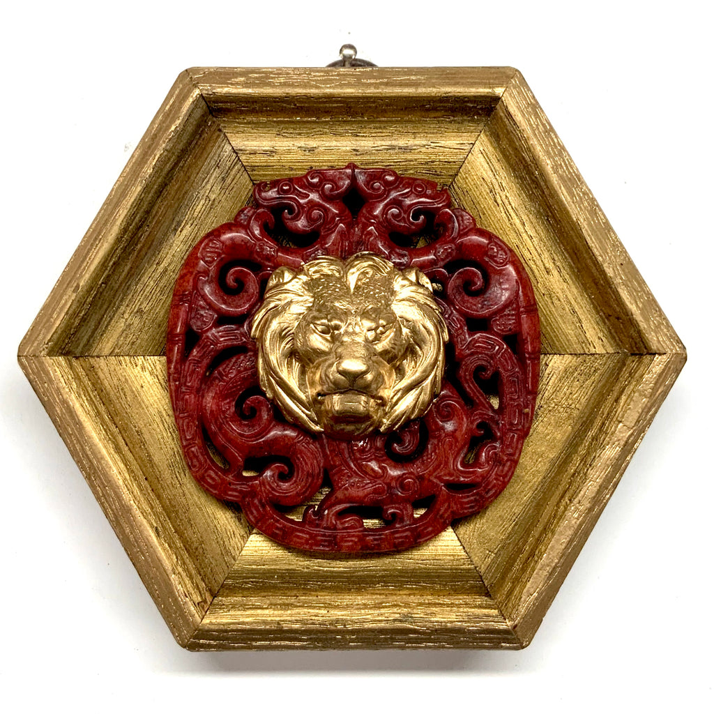 Gilt Frame with Lion on Jade (4.75