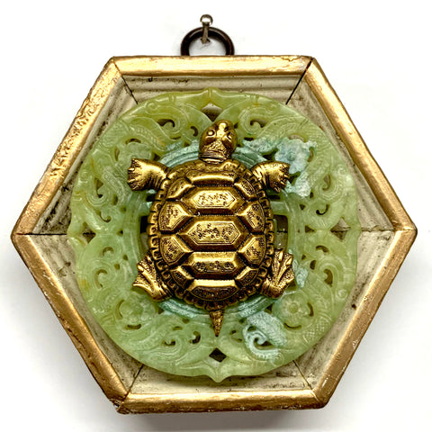 Painted Frame with Turtle on Jade (3.75
