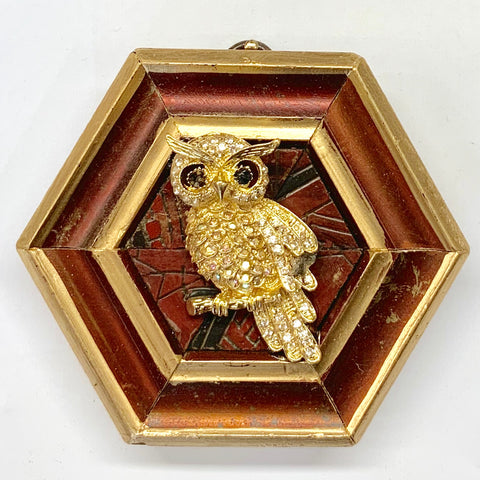 Painted Frame with Owl Brooch (4.5