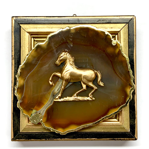 Lacquered Frame with Horse on Agate (4.25