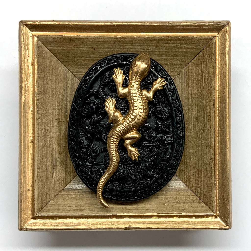 Painted Frame with Lizard on Jade (3