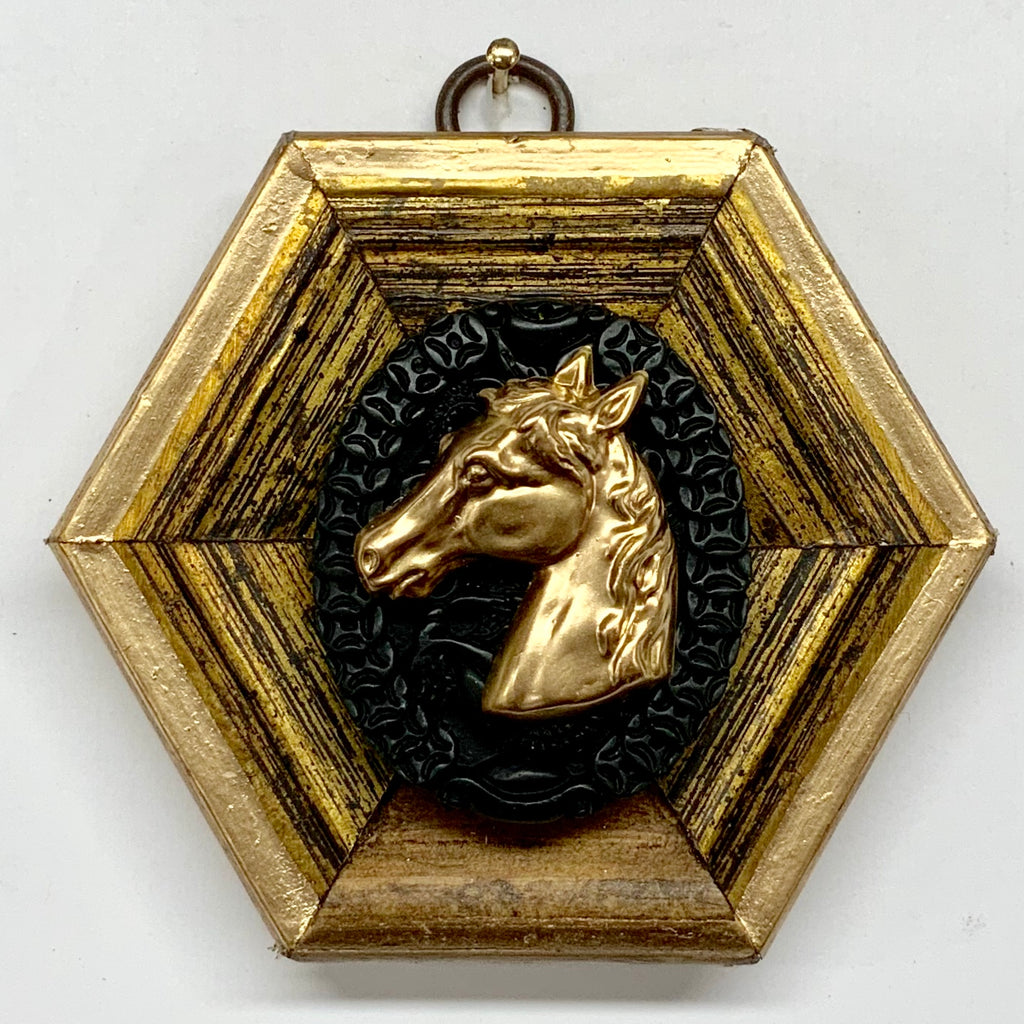 Gilt Frame with Horse Head on Jade (3.75