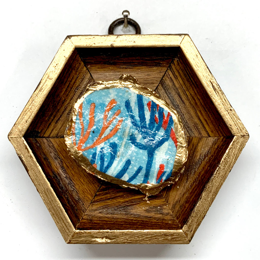 Wooden Frame with Coral Oyster Shell (3.75