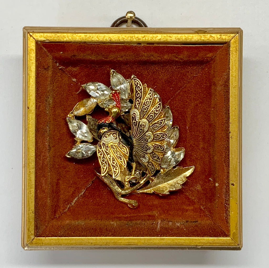Gilt Frame with Bird Brooch on Suede (3