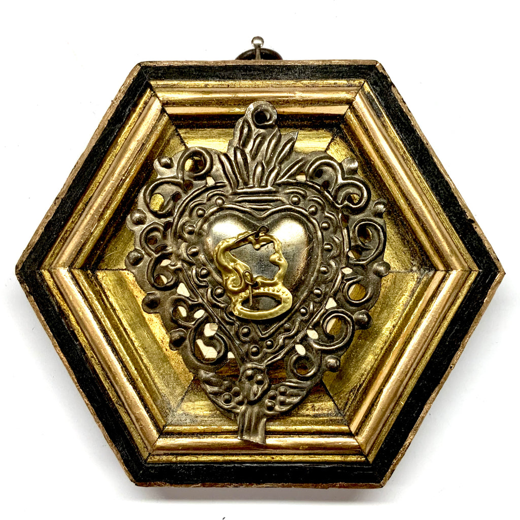 Bourbon Barrel Frame with 19th Century Silver Plated Sacred Heart (4.75