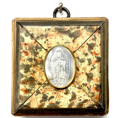 Marbled Frame with Mother of Pearl Mary (3