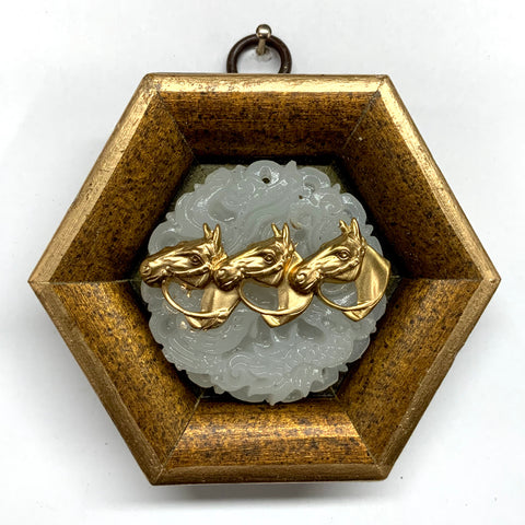 Gilt Frame with Horses on Jade (3.5