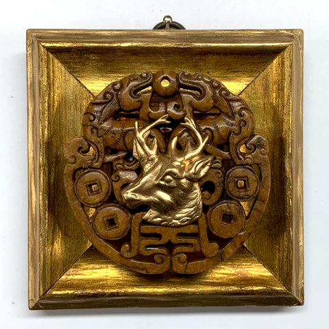 Gilt Frame with Stag on Jade (4