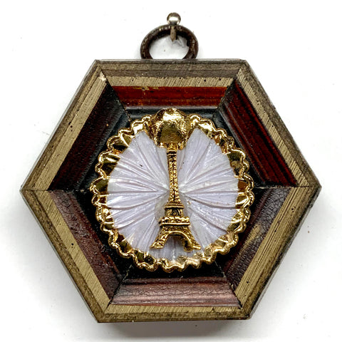 Wooden Frame with Eiffel Tower on Brooch (2.75
