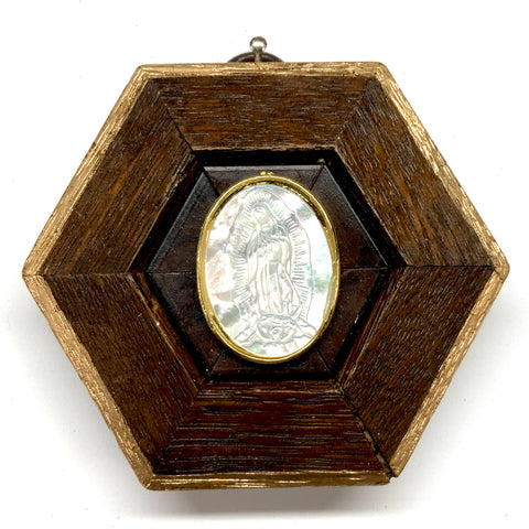 Wooden Frame with Mother of Pearl Mary (3.5