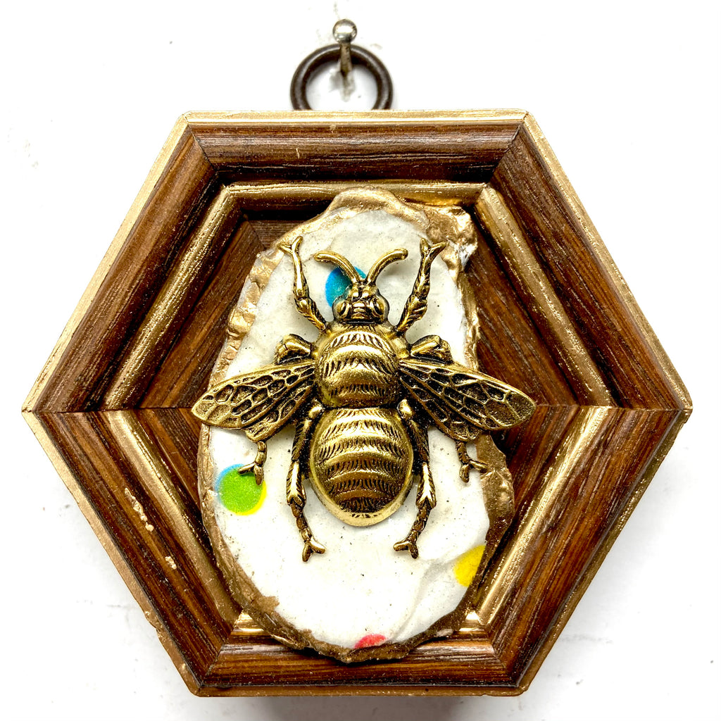Wooden Frame with Grande Bee on Oyster Shell (3.5
