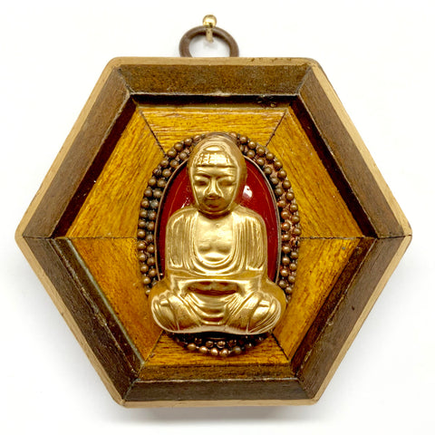 Wooden Frame with Buddha on Brooch (3.5