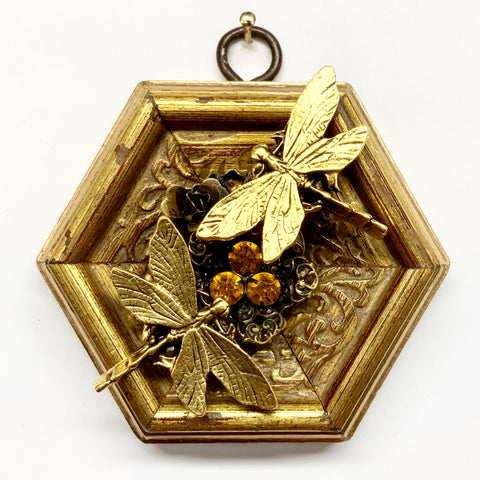 Gilt Frame with Dragonflies on Brooch (3.5