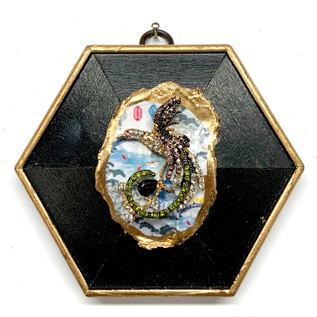 Painted Frame with Sparkle Phoenix on Oyster Shell (4.5