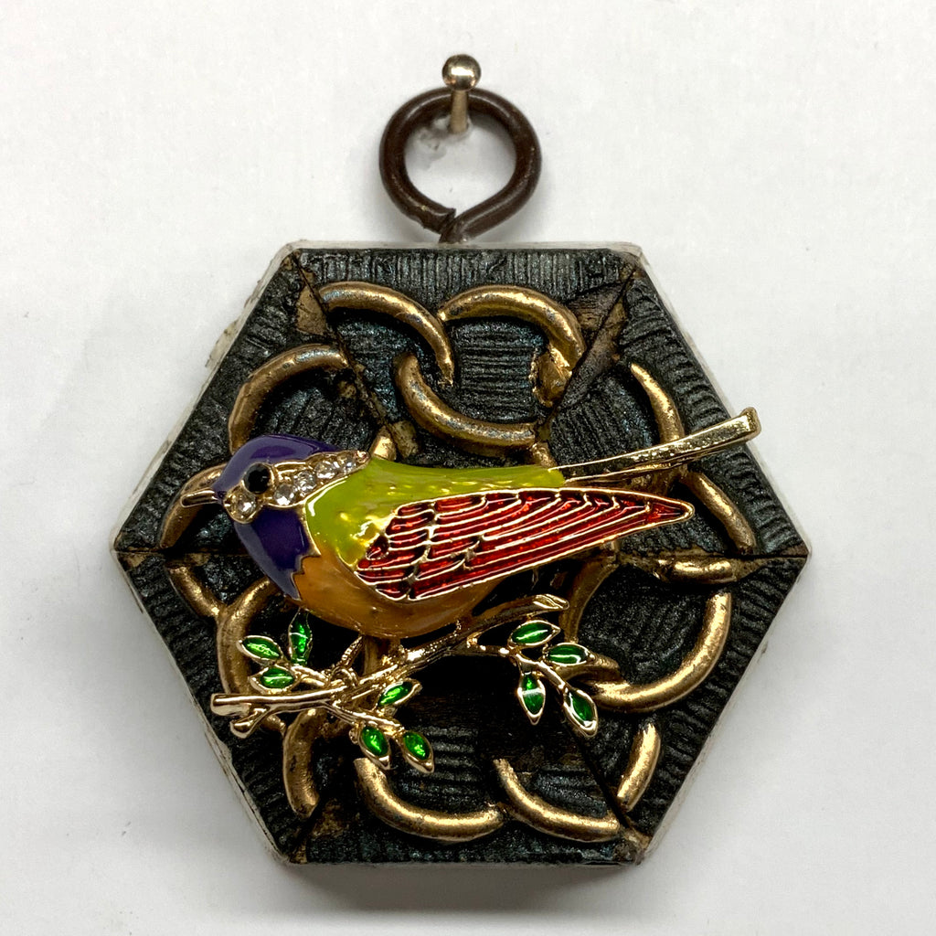 Painted Frame with Enameled Bird (2.5