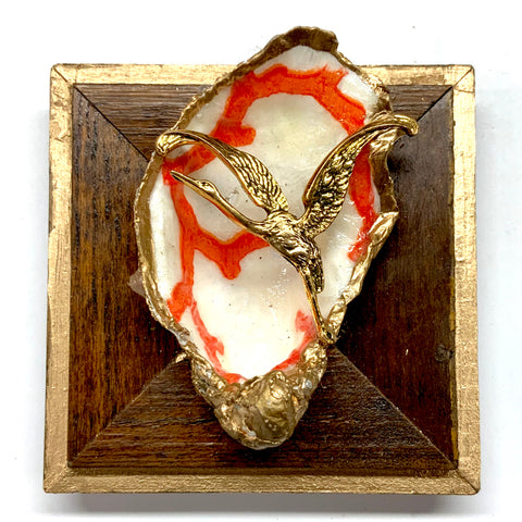 Wooden Frame with Bird on Oyster Shell (3.75