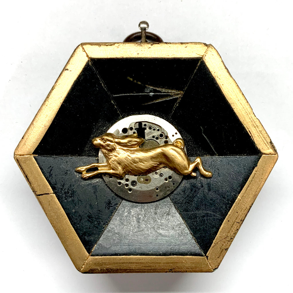 Painted Frame with Hare on Watch Movement (3