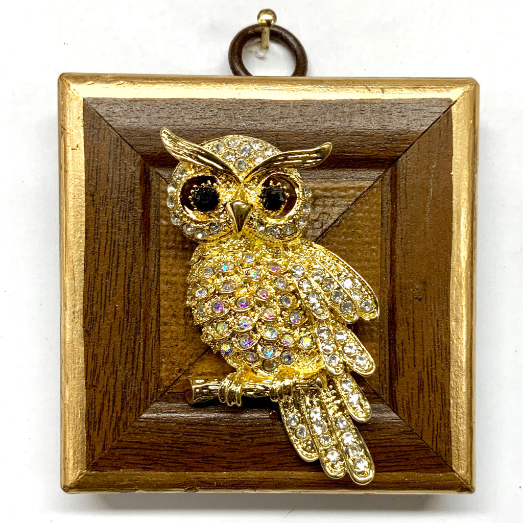 Wooden Frame with Owl Brooch (2.75