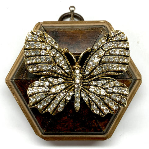 Burled Frame with Sparkle Butterfly Brooch (2.5