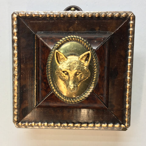 Burled Frame with Fox on Brass Furnishing (3