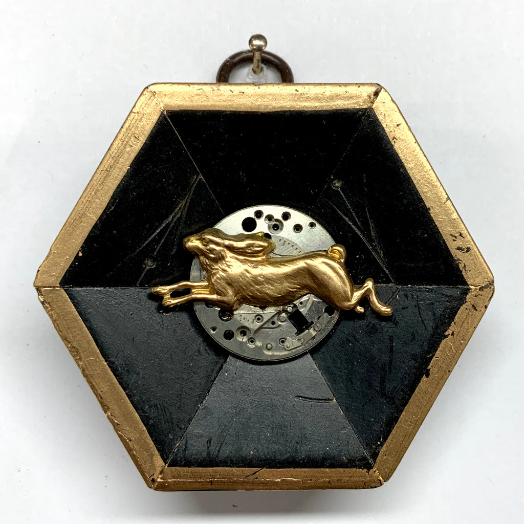 Lacquered Frame with Hare on Watch Movement (3