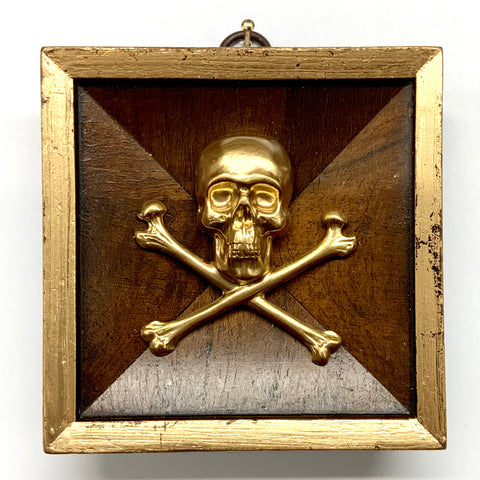 Burled Frame with Skull and Crossbones (3.75