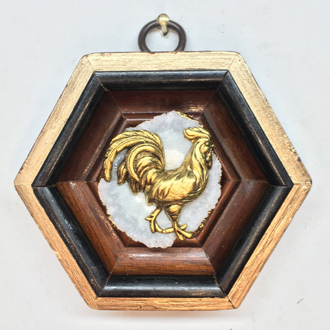 Wooden Frame with Rooster on Quartz (3.25