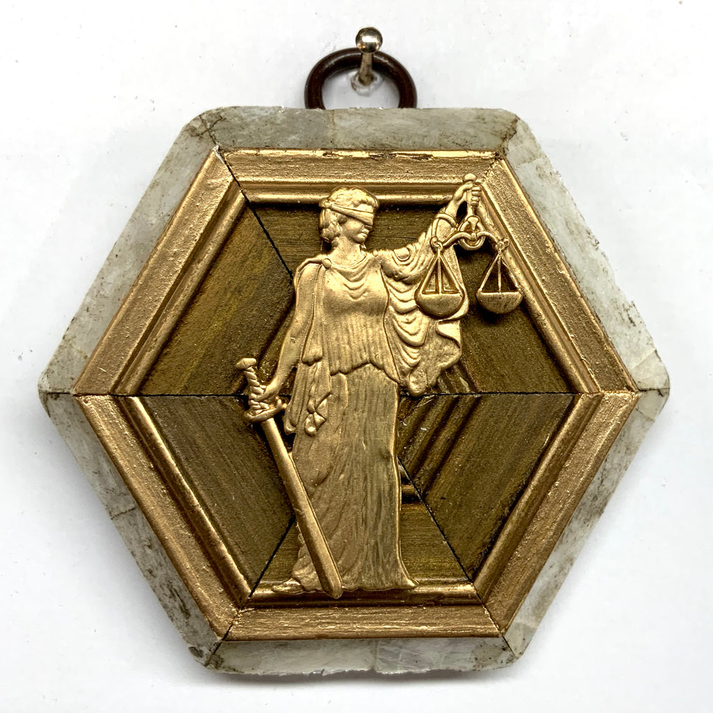 Mother of Pearl Frame with Lady Justice (3