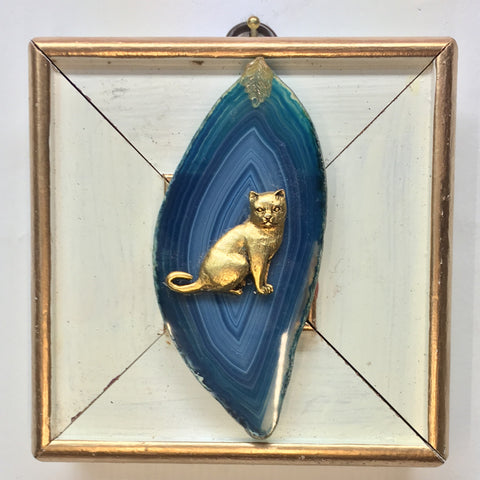 Gilt Painted Frame with Cat on Agate Piece (4