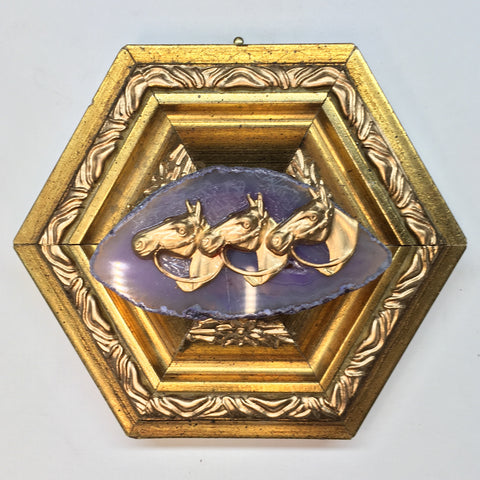 Gilt Frame with Horses on Agate (4.5