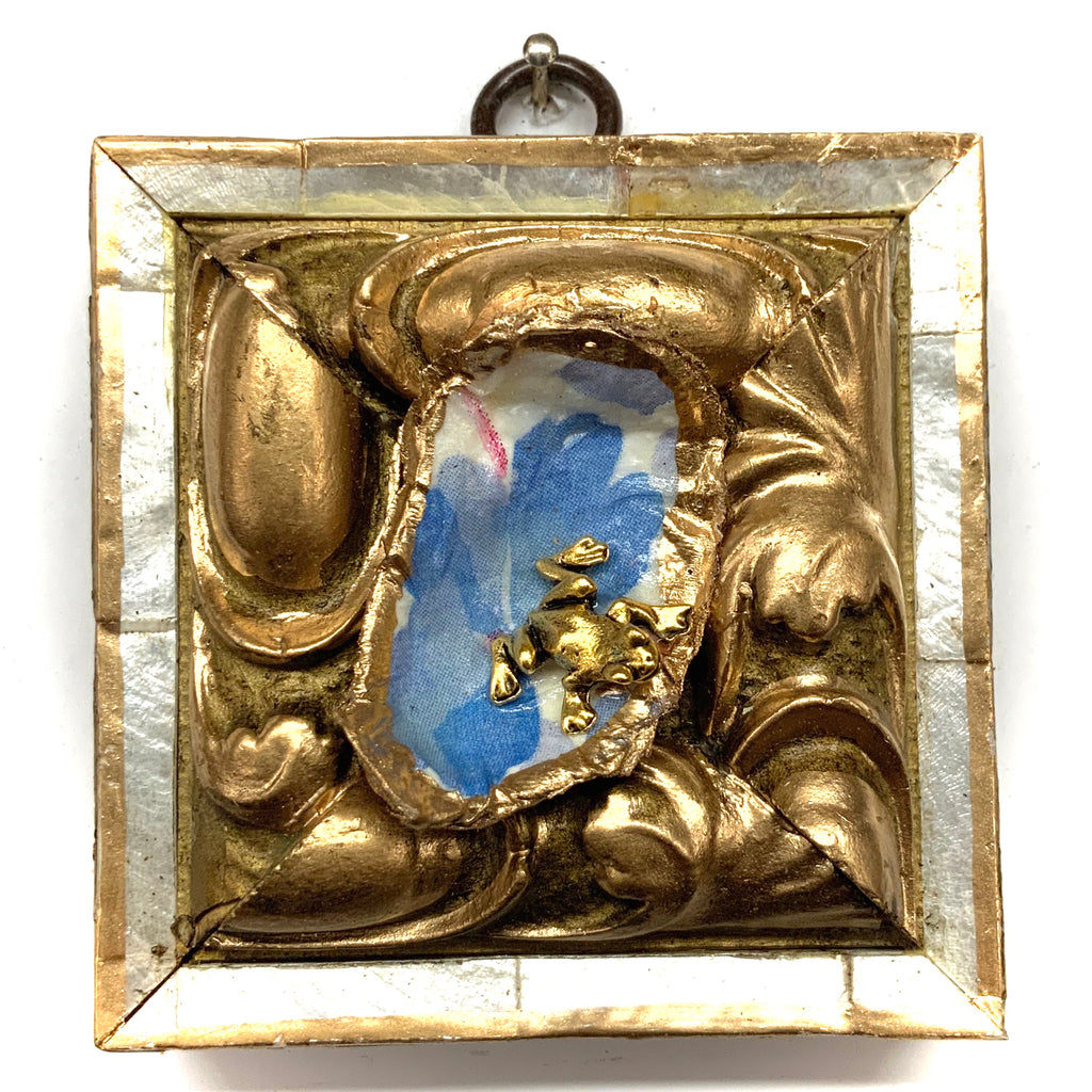 Mother of Pearl Frame with Frog on Oyster Shell (3.25
