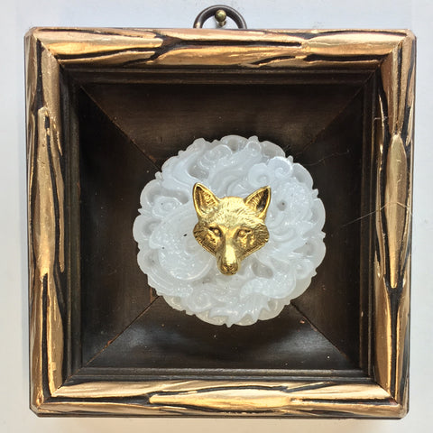 Gilt Wooden Frame with Fox on Jade Piece (3.75