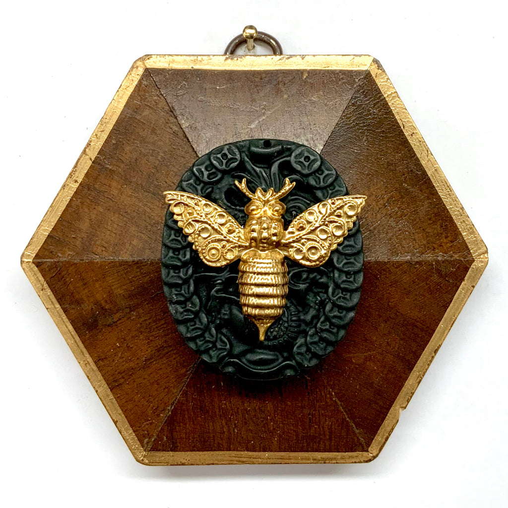 Wooden Frame with Victorian Bee on Jade (4.25