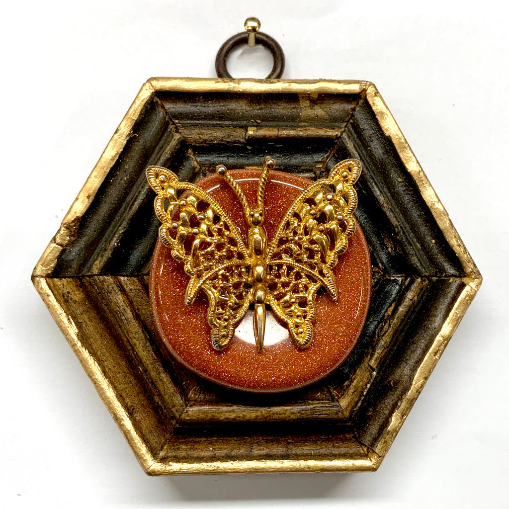 Wooden Frame with Butterfly on Stone (3.5