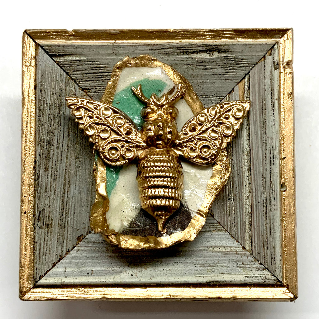 Painted Frame with Victorian Bee on Oyster Shell (2.5