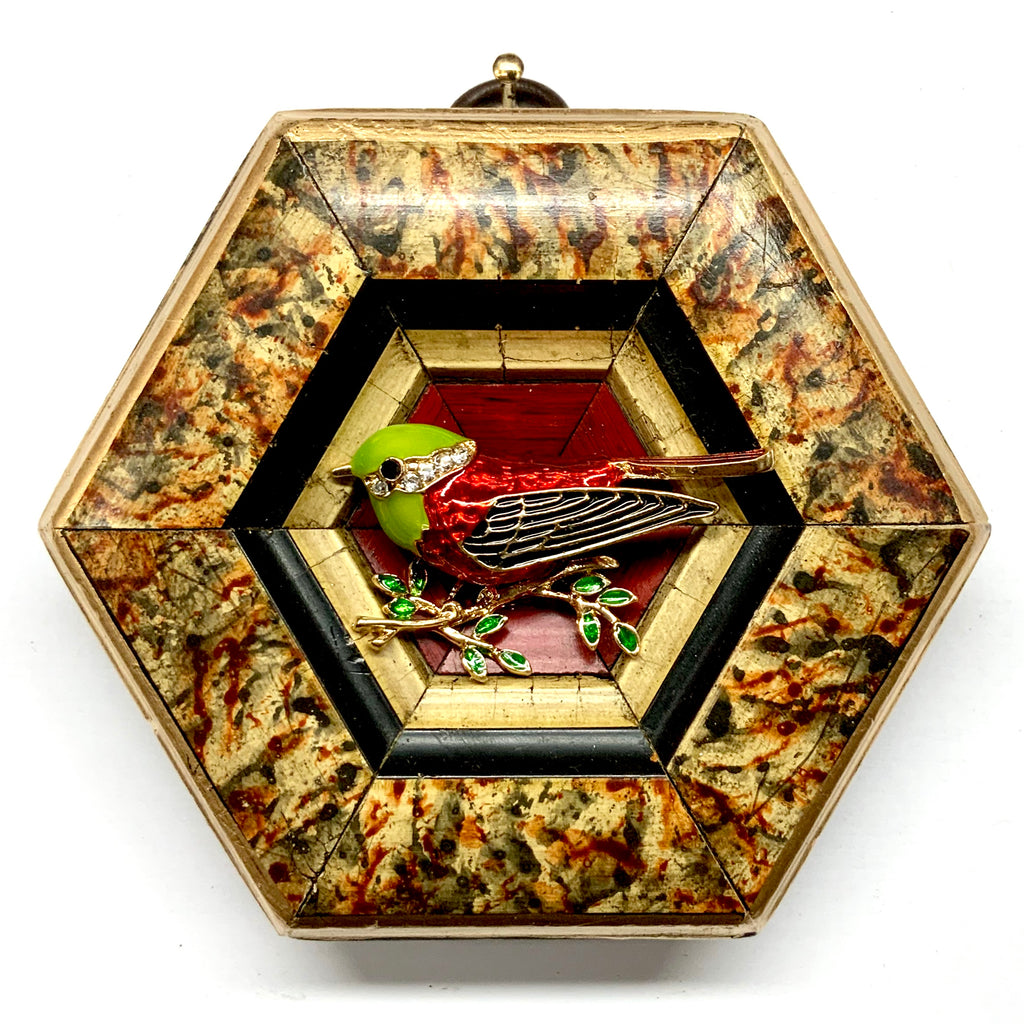 Marbled Frame with Enameled Bird (4