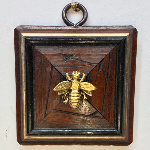 Etched Wooden Frame with Napoleonic Bee (2.75