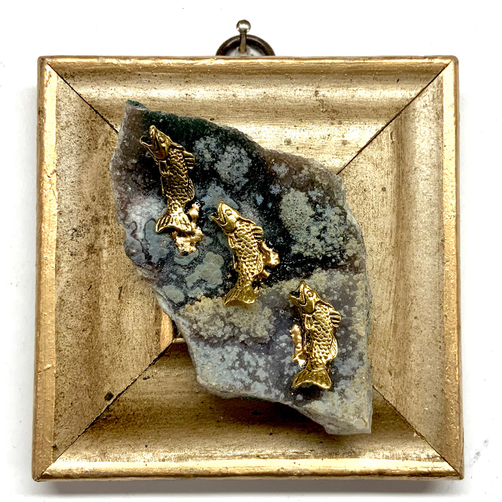 Gilt Frame with Fish on Semi-Precious Stone (3.75