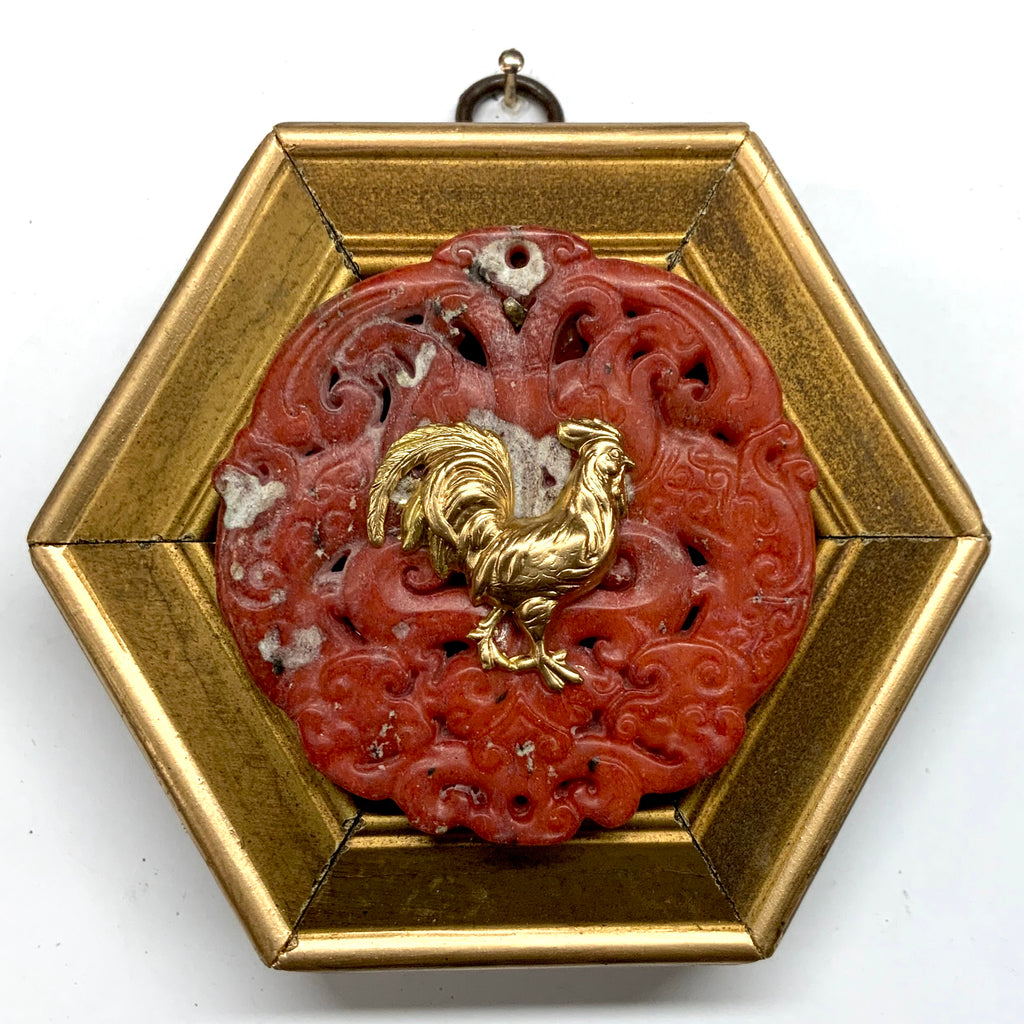 Gilt Frame with Rooster on Jade (4.5