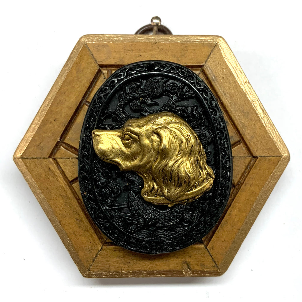 Gilt Frame with Handsome Dog on Jade (3.25