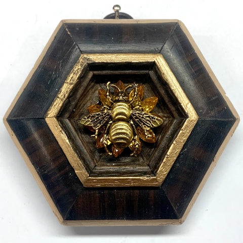 Wooden Frame with Grande Bee on Brooch (3.75