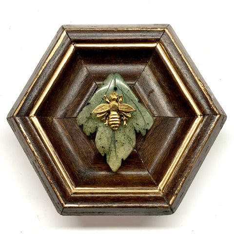 Wooden Frame with Napoleonic Bee on Jade Leaf (4.5